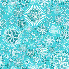 Seamless pattern with intricate flowers on light blue background