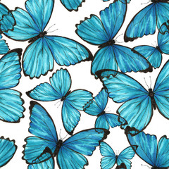 Watercolor pattern with blue butterflies