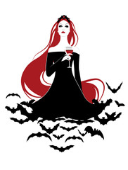 Beautiful vampire queen on a cloud of bats holding a wineglass