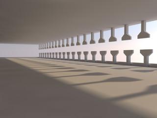 empty light big hall 3D rendering
