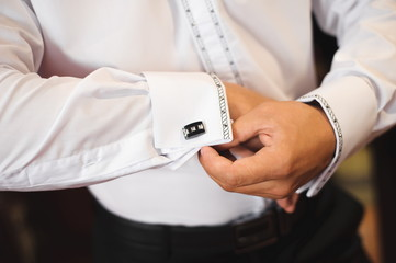 attractive young elegant groom dressed wedding tuxedo costume is