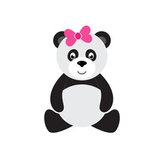 cartoon panda sitting with bow