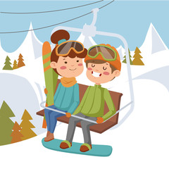 Girl and boy on ski lift.