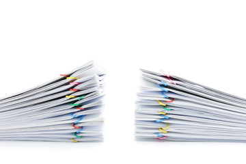 Pile overload paperwork two sets on white background
