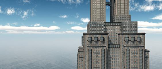 Wolkenkratzer am Meer
