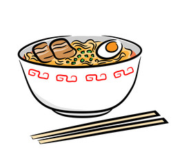 Ramen Noodle. A hand drawn vector illustration of a Japanese ramen noodle.