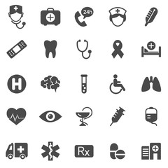 Medical and healthcare icons. Black series