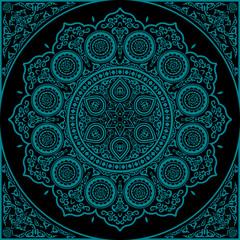 East blue Mandala - Round Ornament Pattern