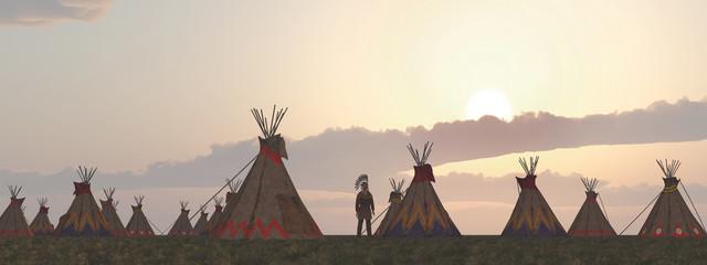 Indianerlager in der Abenddämmerung