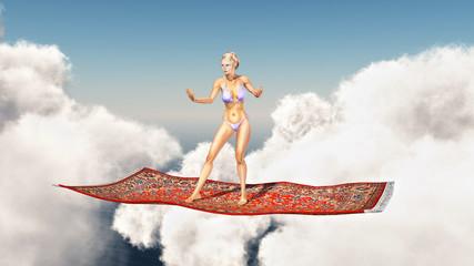 Frau auf fliegendem Teppich über den Wolken