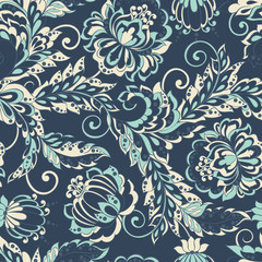 seamless floral pattern in asian batik style