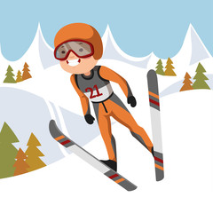 Boy jumping on skis.