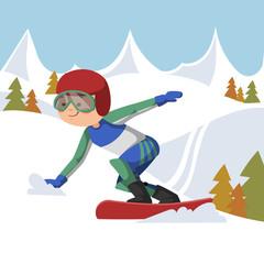 Athlete snowboarding.