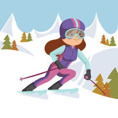 Girl riding on skis in the mountains.