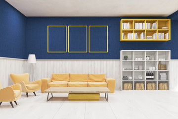 Living room interior with large sofa, armchairs, shelves and bookcases. Blue and white walls. Posters. Concept of comfortable flat. 3d rendering. Mock up.