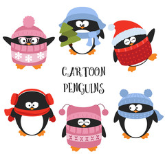 Set of cartoon penguins
