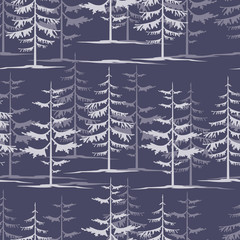 Fir tree winter night forest wallpaper design seamless texture p