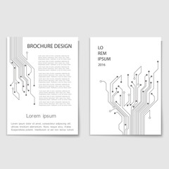 Modern brochure cover template with tree circuit board - Techno-