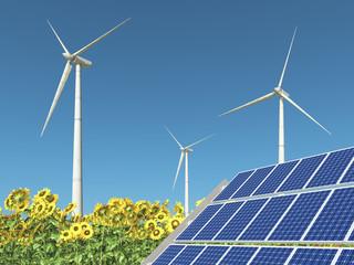 Solaranlage, Windkraftanlagen und Sonnenblumen