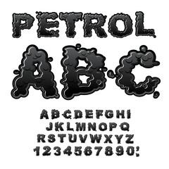 Petrol ABC. Oil font. Black letters. Liquid lettring. Alphabet p