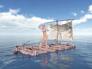 Frau auf einem Floß