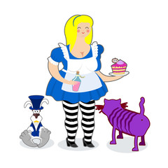 Fat old Alice in Wonderland. Mythical Cheshire cat. White rabbit