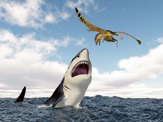 Haifisch attackiert den Flugsaurier Peteinosaurus