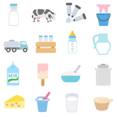 Milk and dairy products icons set. flat design