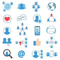 Social network icons set. communication collection. flat design