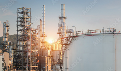Oil Refinery factory in the morning , petrochemical plant