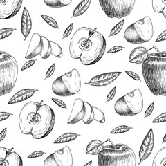 Seamless of hand drawn apple. Vintage sketch style illustration. Organic eco food. Whole , sliced pieces half,leaves and flowers leave . Fruit engraved  .