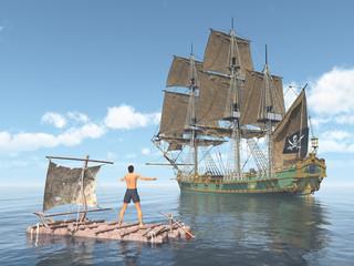 Piratenschiff und Mann auf einem Floß