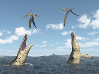 Kronosaurus attacks Pteranodon
