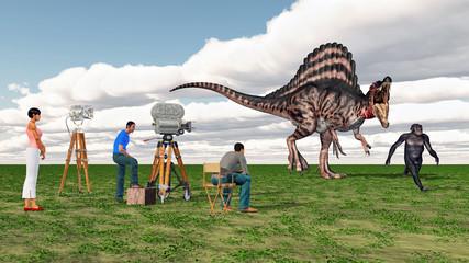 Dreharbeiten mit Homo Habilis und Spinosaurus