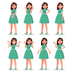 Set girl dressed in a dress with a variety of emotions and poses
