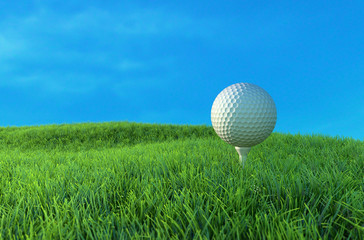 Golf ball on the green. 3D Illustration