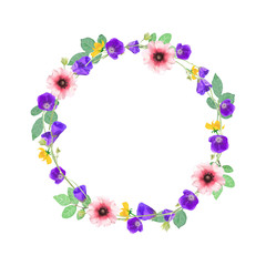 Vector flowers wreath. Elegant floral collection with isolated b