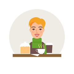 Small business - coffee shop vector illustration flat style