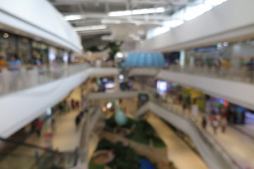 Shopping mall, modern trade with people in blur background