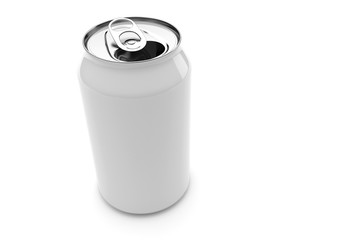 White Aluminum Beverage Can Isolated On A White Background, 3d illustration