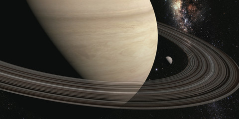 Wall Mural - planet saturn with rings on the space background. 3d render Elements of this image furnished by NASA