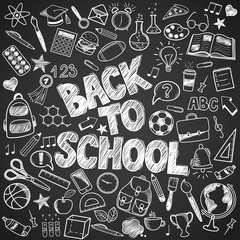 Back to School - sketch doodle set. Various hand-drawn school items on a background blackboard. Vector illustration