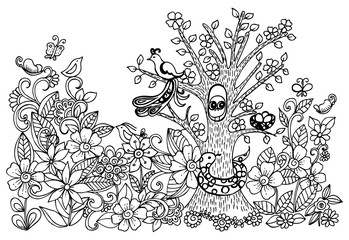 Doodle drawing of magical forest. Vector image with wild animals and floral pattern.