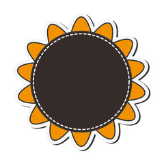 sunflower flower plant nature seal stamp circle  icon. Flat and isolated design. Vector illustration