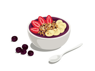 acai special: delicious and healthy meal of acai cream bowl with strawberry, granola and banana on top
