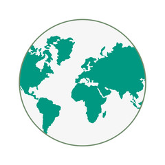 planet earth world map cartography icon. Flat and isolated design. Vector illustration