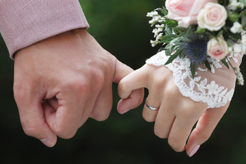 Closeup view of hands of a newlywed couple