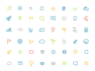 Modern web and mobile application color pictograms collection. L