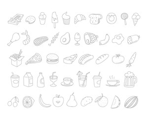 Different food doodles. Lineart hand-drawn elements clip-art for