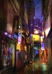 painting of dark alley at night,illustration